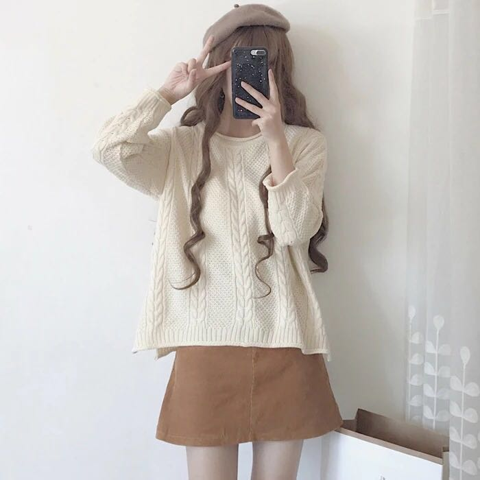 3d34529b713460 Cable Knit Sweater Loose Fit Oversized Ulzzang korean style kpop ...