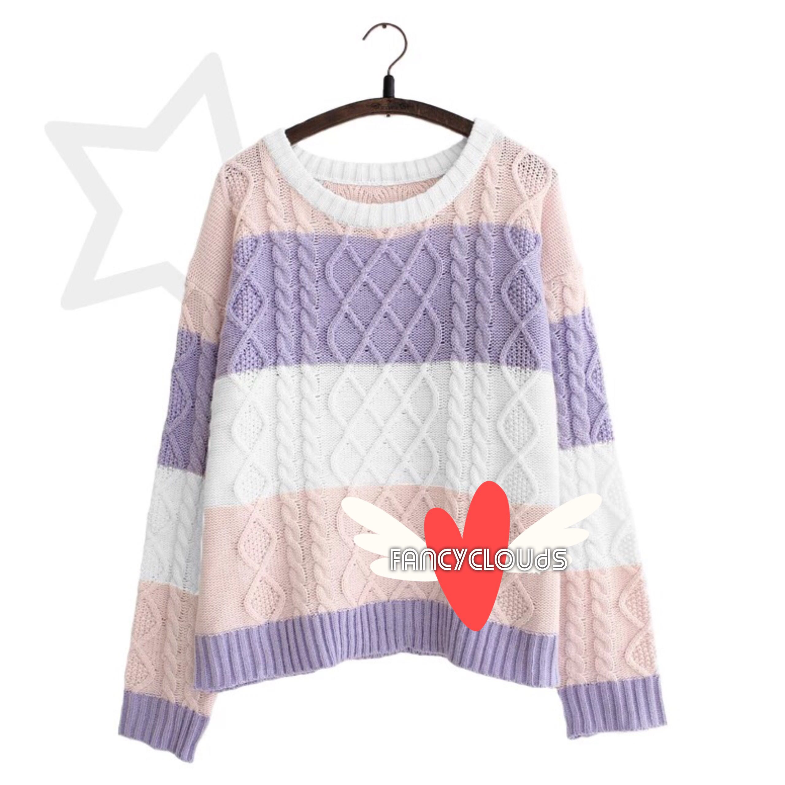 ae7e35eee52b Cable Knit Sweater Pullover Pink Purple White oversized jacket ...