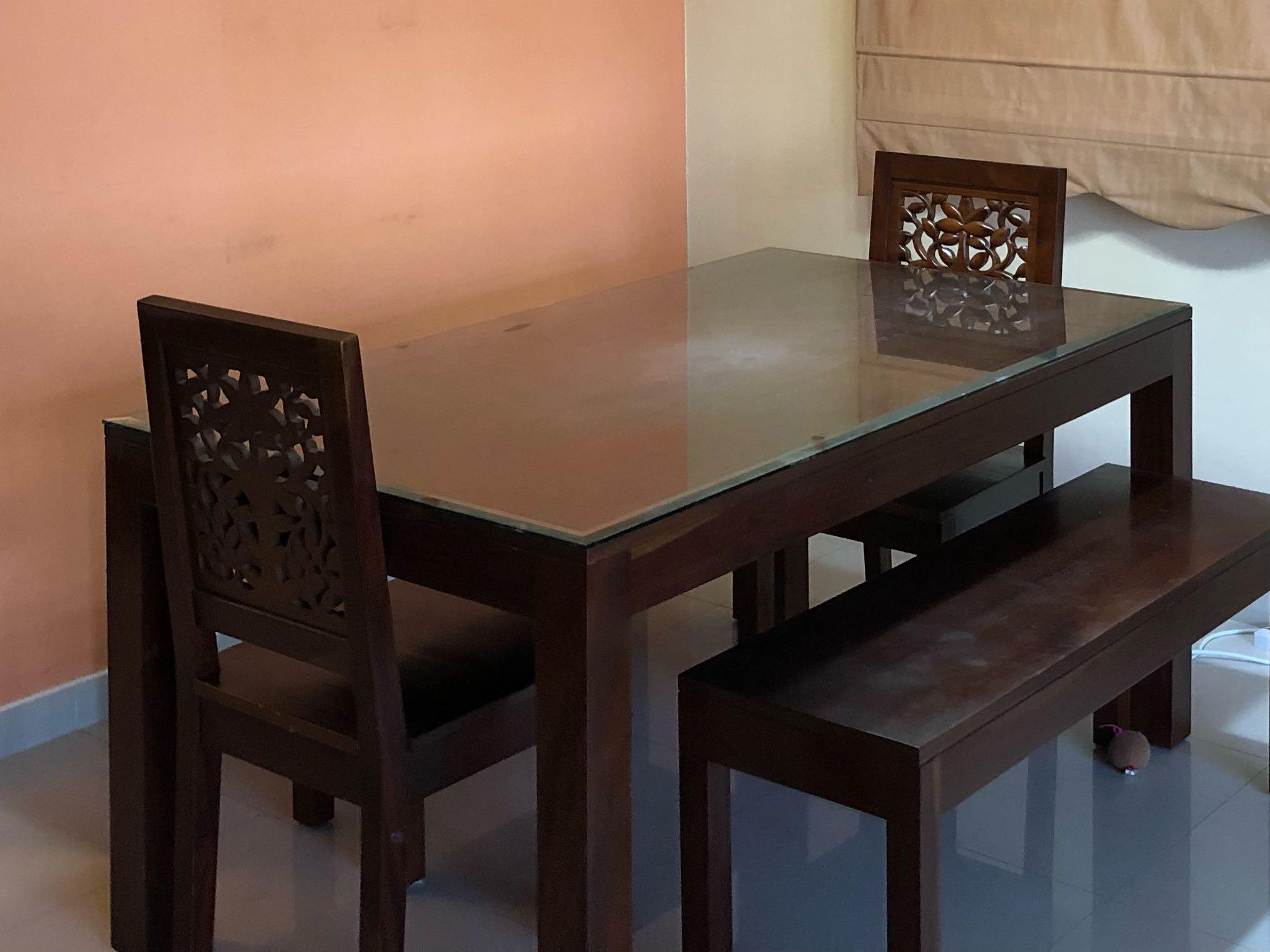 Wood Carving Chairs Bench Furniture