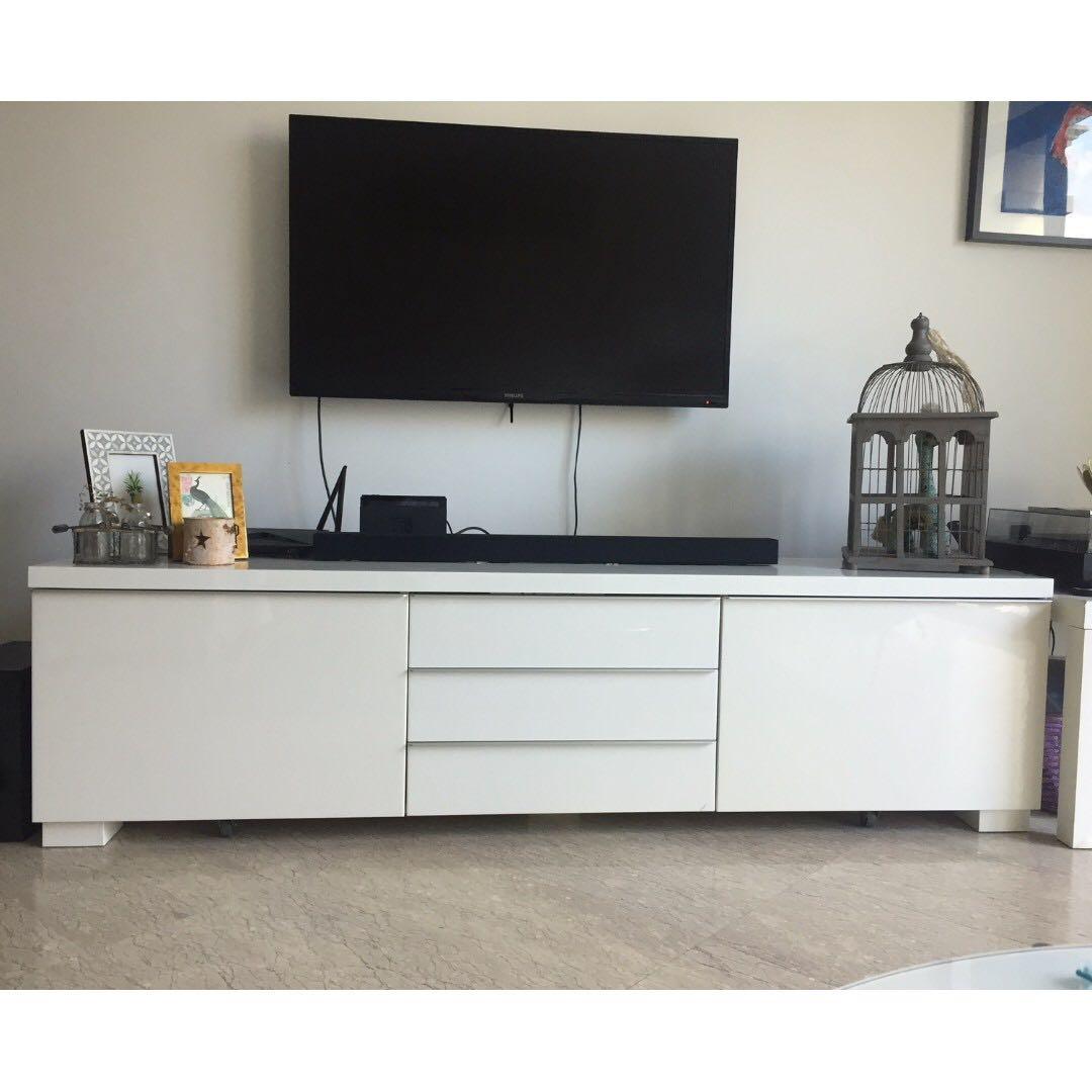 Ikea Besta Burs Tv Bench Stand Furniture Shelves Drawers On