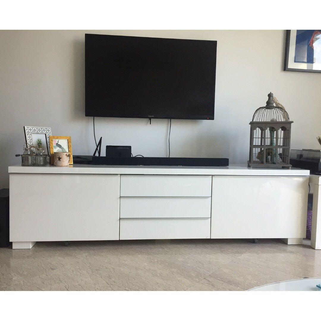 Ikea Besta Burs Tv Meubel Rood.Ikea Besta Burs Tv Bench Stand Furniture Shelves Drawers On