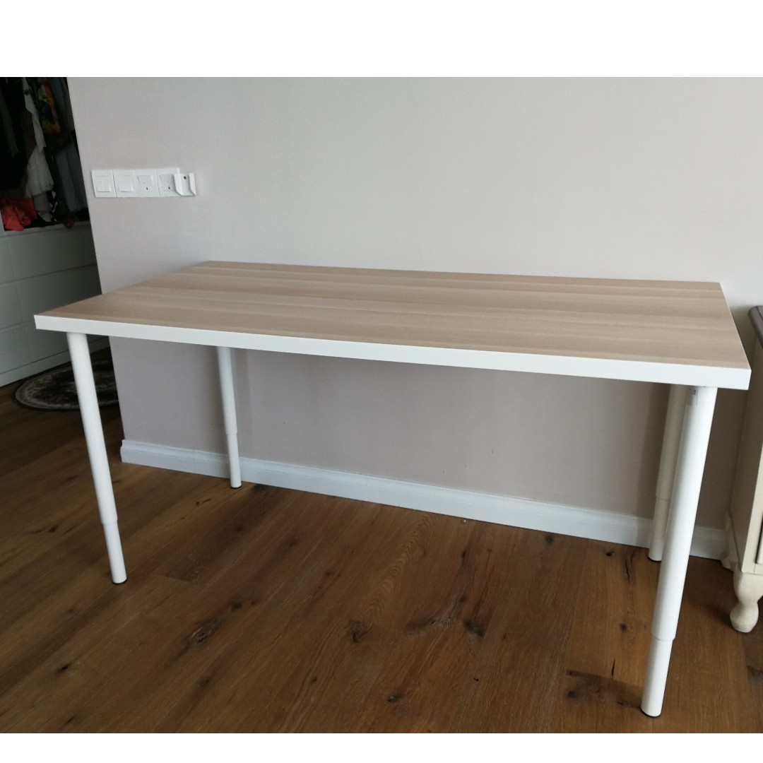 Ikea Linnmon Adils Table White White Stained Oak Effect Beige