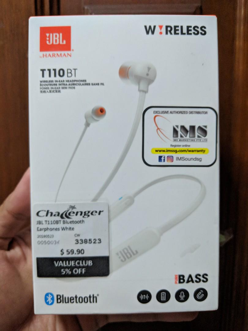 JBL T110BT Bluetooth Earphones White, Electronics, Audio on