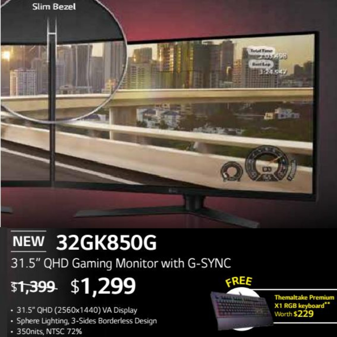 """LG 32GK850G 31 5"""" QHD Gaming Monitor with G-SYNC  ( Offer Till   15 Aug  2018  Ends )"""