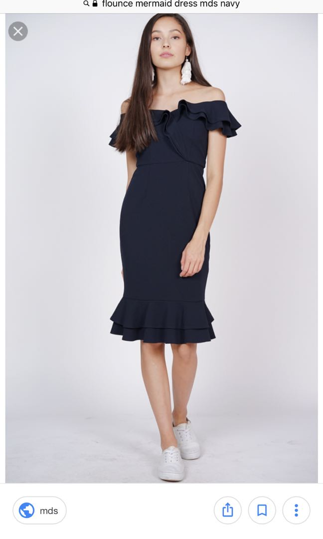 078cecb23e03 MDS flounce mermaid dress in Navy, Women's Fashion, Clothes, Dresses ...