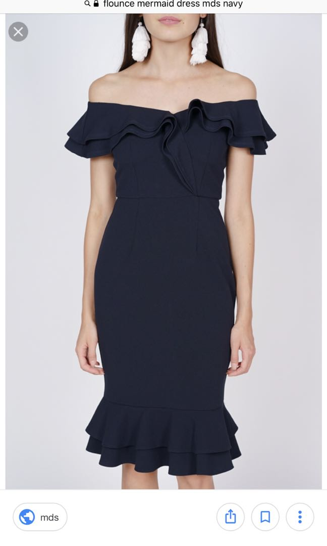 6eb68604e57d MDS flounce mermaid dress in Navy, Women's Fashion, Clothes, Dresses &  Skirts on Carousell