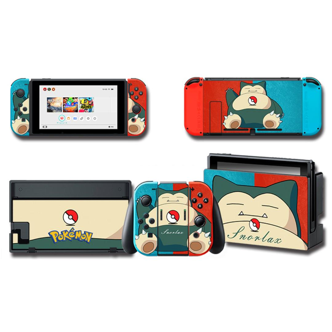 Nintendo Switch Decal Skin Snorlax Red Blue Toys Games