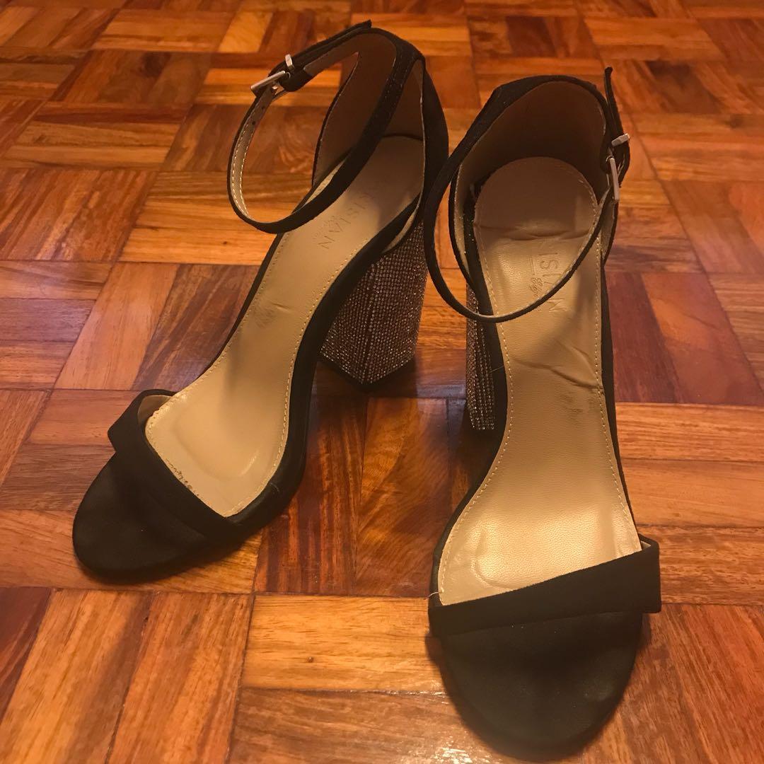 ee28811d7fda Parisian black high heeled sandals with sparkle heel