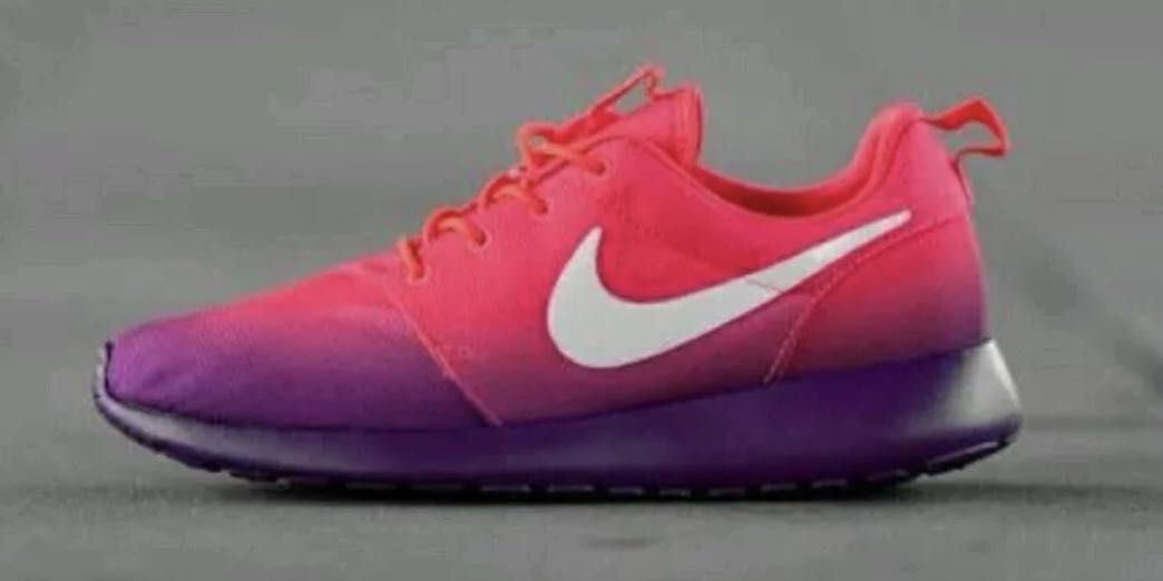 c63ffc983a29 ... sweden repriced nike roshe run print crimson blanc violet running shoes  womens fashion shoes on carousell