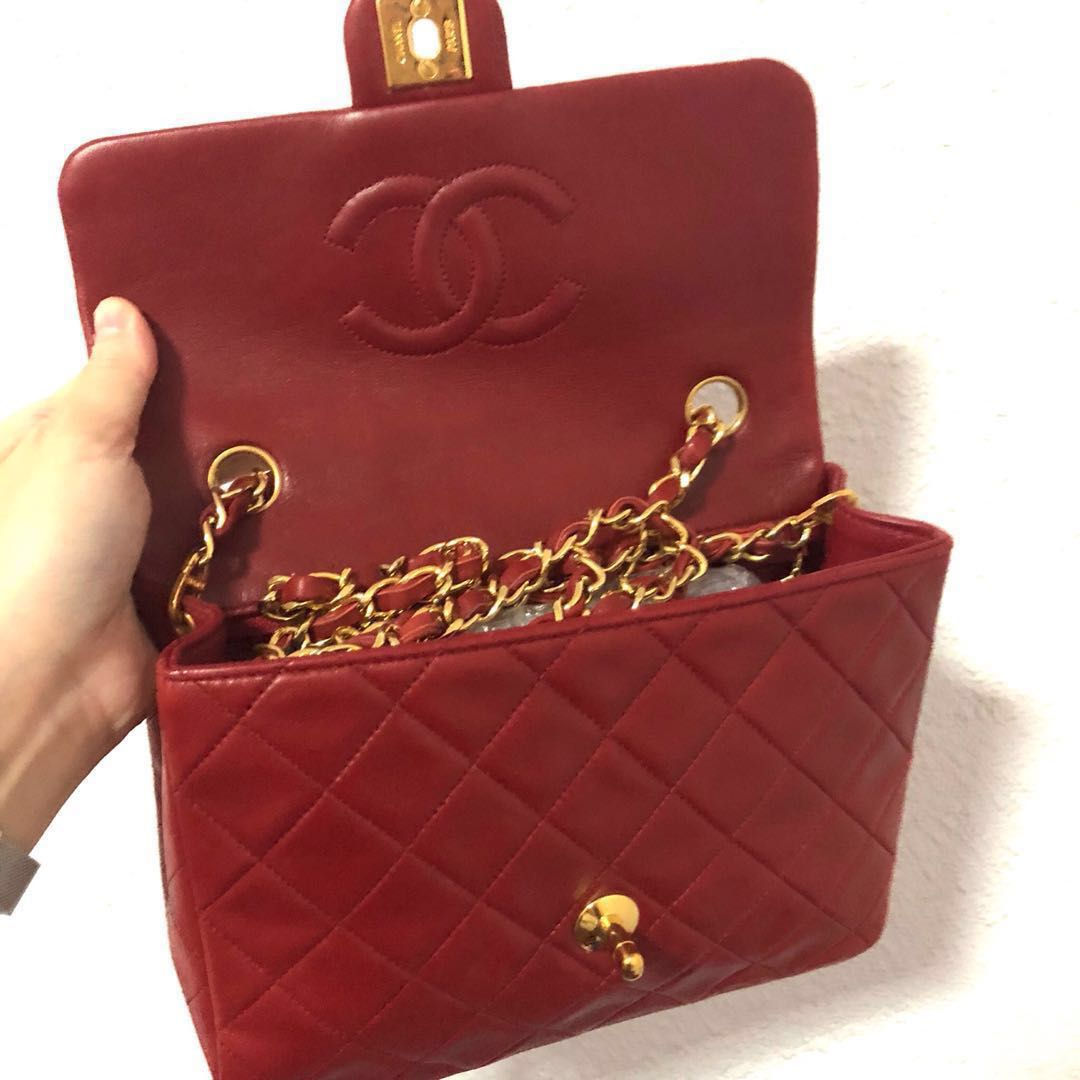 81041c78d268 RESERVED Authentic Chanel Red Lambskin Mini with 24k Gold Hardware, Luxury,  Bags & Wallets, Handbags on Carousell