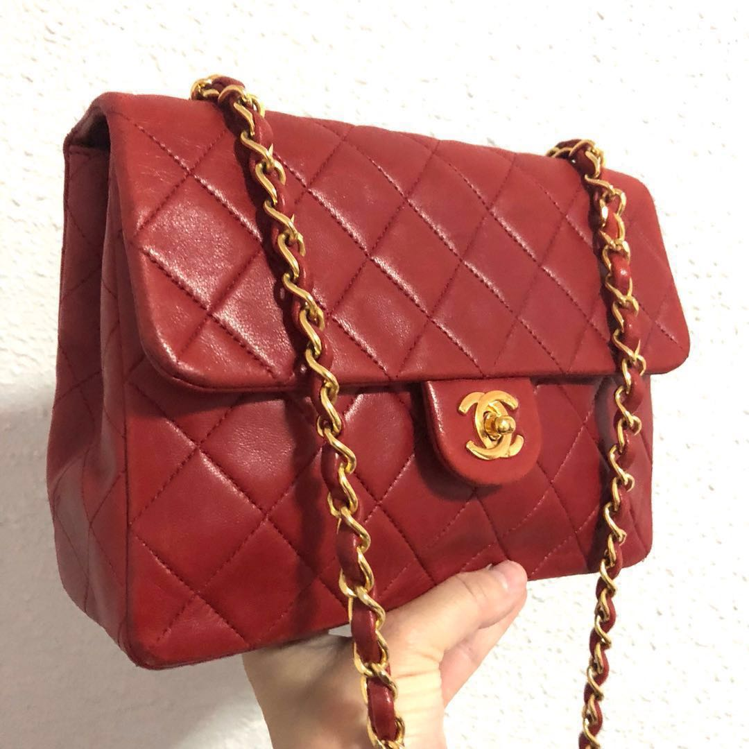 0a37de9c40a9 RESERVED Authentic Chanel Red Lambskin Mini with 24k Gold Hardware ...