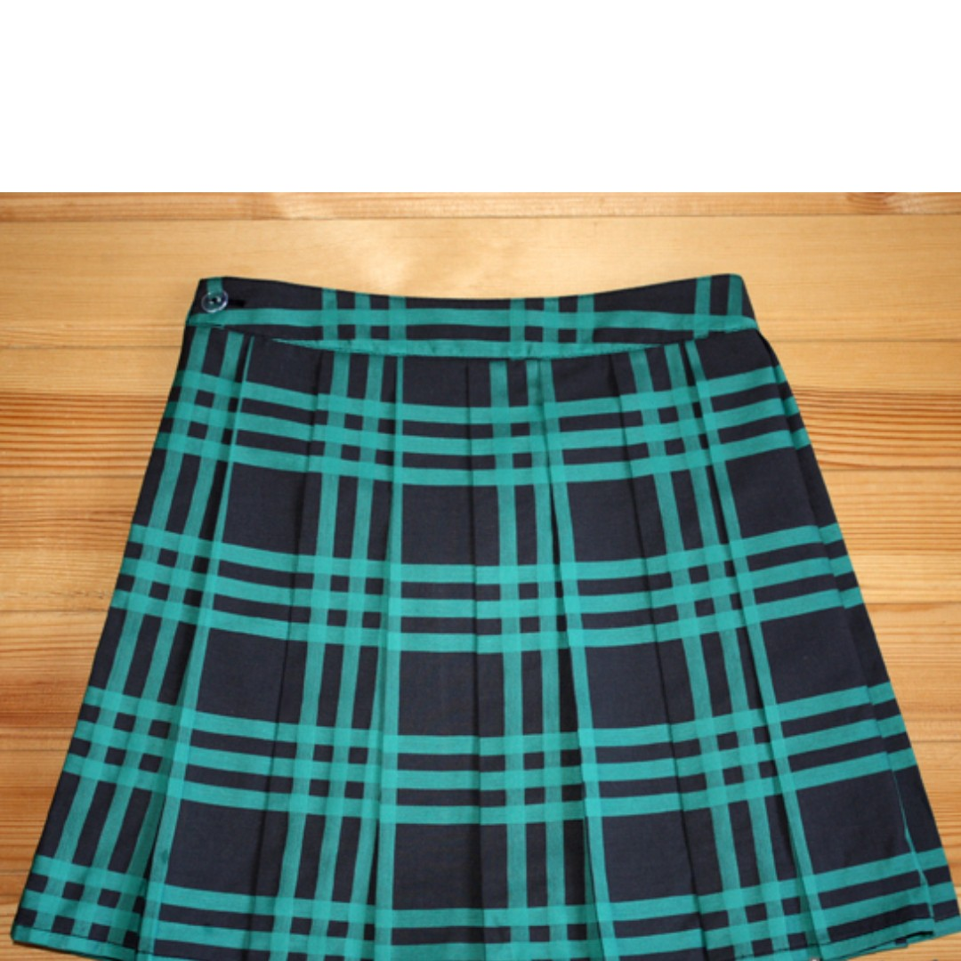 7a9def3de7 Schoolgirl uniform style jk Pleated checkered skirt Blue Neon Green ...