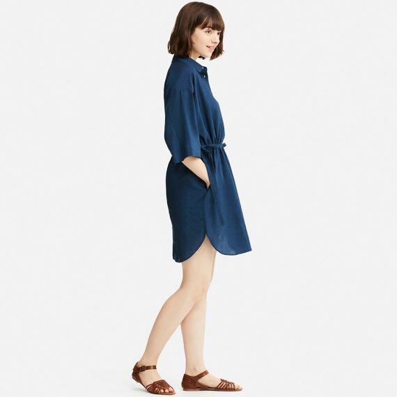 2f60753923a Uniqlo Women Linen Blend 3 4 Sleeve Shirt Dress