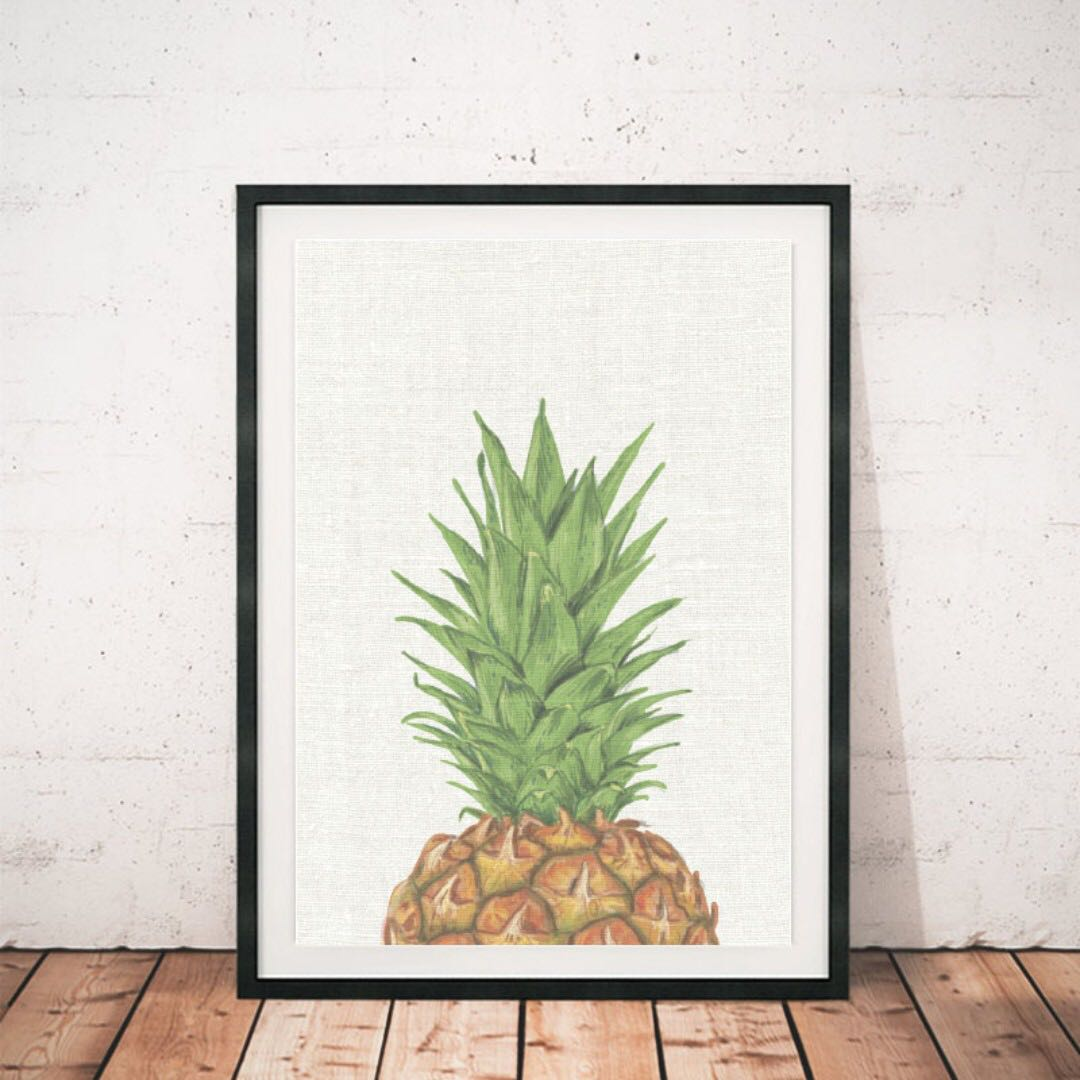 Vintage kitchen wall art frame like canvas pineapple decor rumah perabot home décor di carousell