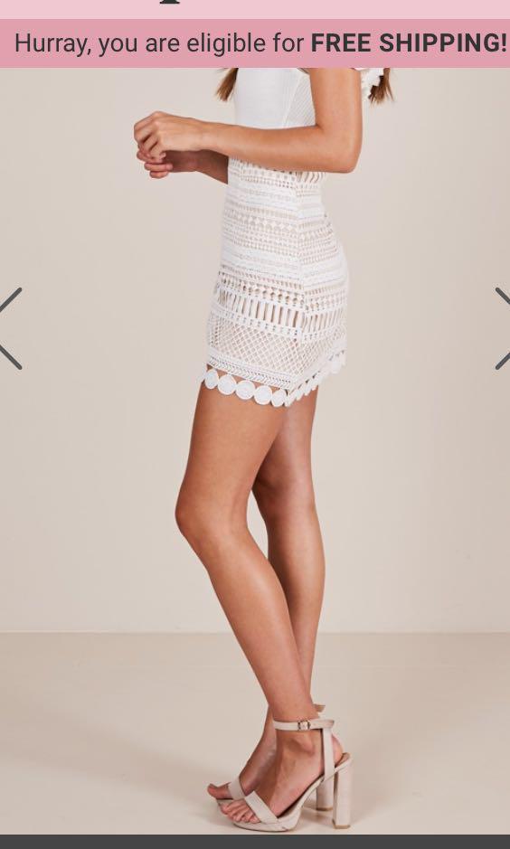 White crochet skirt showpo