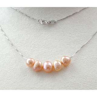 S925 silver chain 18inch with Freshwater pearl 天然淡水珍珠