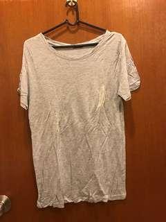 Grey Slit sleeve T-Shirt