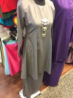 Baju Kurung Plain (Never been worn) Grey