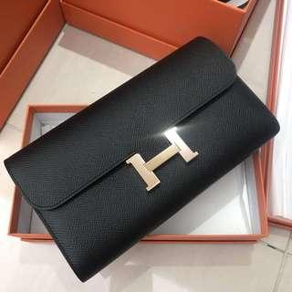 Hermes Constance Wallet 黑色epsom玫瑰金釦C刻