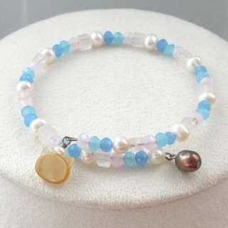 天然黃貝貓咪頭天然淡水珍珠手鈪