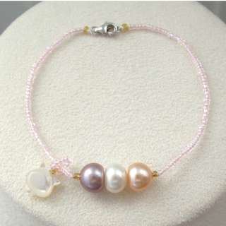 Freshwater pearl bracelet with S925 Silver Clasp 天然淡水珍珠
