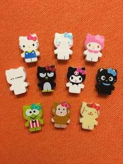 Sanrio characters 擦膠 2014年 hello kitty x Xo keroppi 布甸狗 玉桂狗 melody