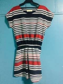 Striped Short-Sleeved Dress