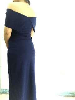 Royal Blue Medium Off Shoulder Semi-Formal/Formal Dress