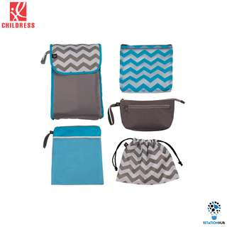 J.L. Childress 5-in-1 Diaper Bag Organizer | Grey.Teal Chevron [BG-JL2004GY-CHV]