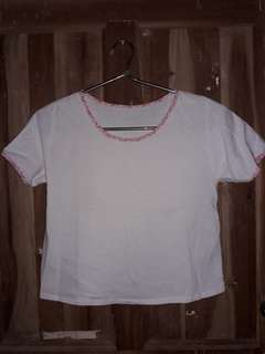 White Shirt with Pink Piping