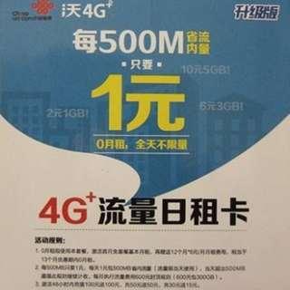 一卡2號 送翻牆1个月 4G+日租卡 大陸卡 深圳卡 1元800MB全國流量