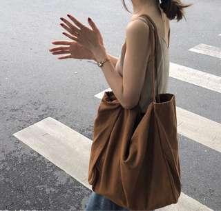 🚚 韓系 簡約無印隨性大帆布包大方包肩背包 預購