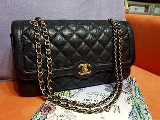 美品Chanel黑色魚子醬復刻金扣Jumbo flap bag 29cm