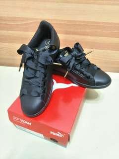 🚚 PUMA 緞帶 小黑鞋 23.5 含鞋盒
