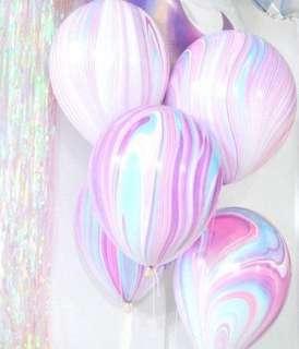 "12"" Unicorn Pink and Purple Marble Latex Balloons (Helium)"