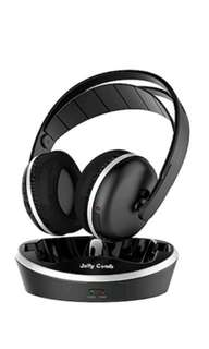 Wireless TV Headphones, Jelly Comb Over-Ear Wireless RF Headphones with Charging Dock