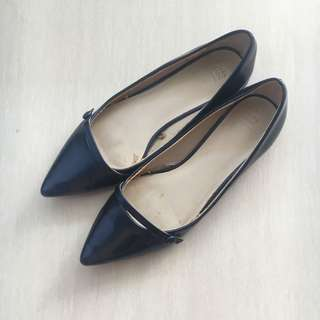 Zara blue metalic flat shoes
