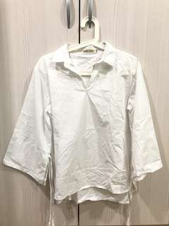 🚚 全新上班白V領涼感襯衫