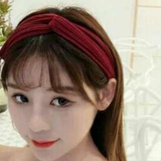 韓版時尚髮帶-酒紅