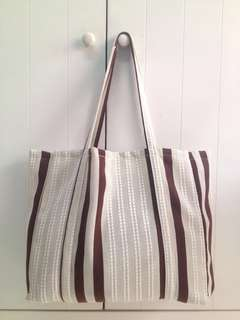 Simple Tote Bag Shoulder bag brown stripe