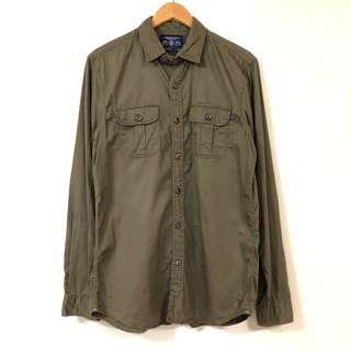 🚚 美式長袖襯衫 American Eagle 🦅 軍綠 軍裝 軍襯衫 6月
