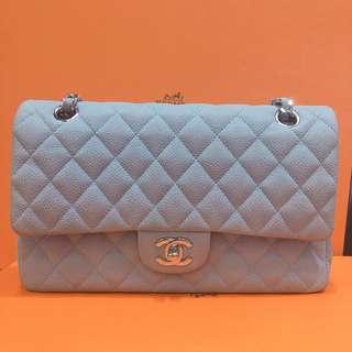 正品 95%新 Chanel 25cm 灰色荔枝皮銀色雙鍊上膊袋