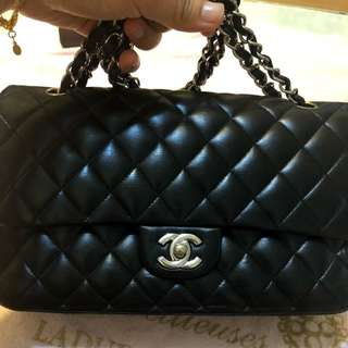 美品Chanel黑色羊皮銀扣Double flap bag 25cm