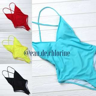 Chelsea Plain Solid Yellow Blue Red Black One Piece Swimsuit Monokini Bathing Suit