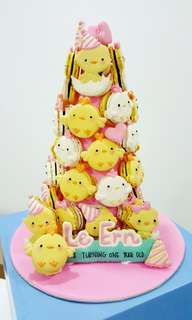 Chicks themed macaron tower