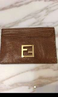 FENDI FF logo card holder lizard leather