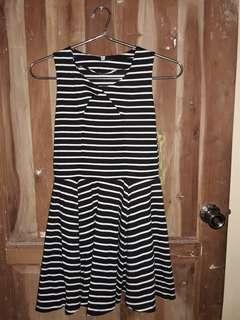 Black & White Striped Skater Dress