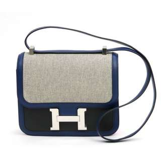 Hermes Constance 24 藍色Tolie配帆布銀扣 (Limited Edition)
