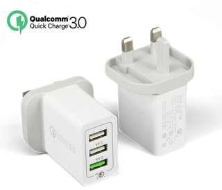 快速QC3.0充電三腳插