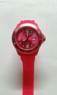 Sanda 粉紅色矽膠錶帶 電子日曆錶